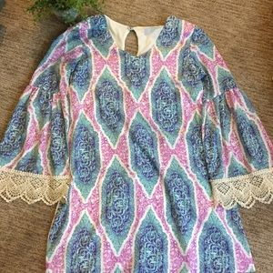 PLC | Blue, Turquoise, & Pink Dress w/ Bell Sleeve
